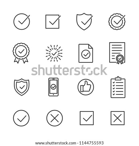 Vector image set of approve line icons.