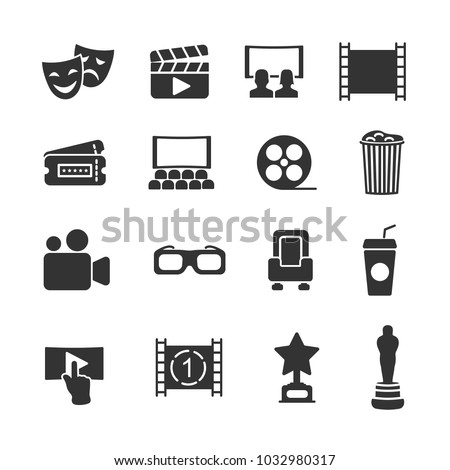 Vector image set of cinema icons.
