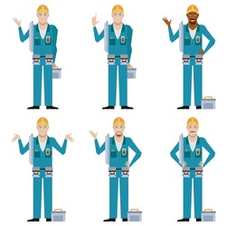 Vector image Set of Electricians