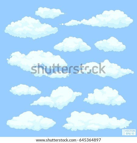 Vector image. Set of fluffy beautiful clouds.