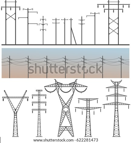 Vector image set of high-voltage poles on a white background design element