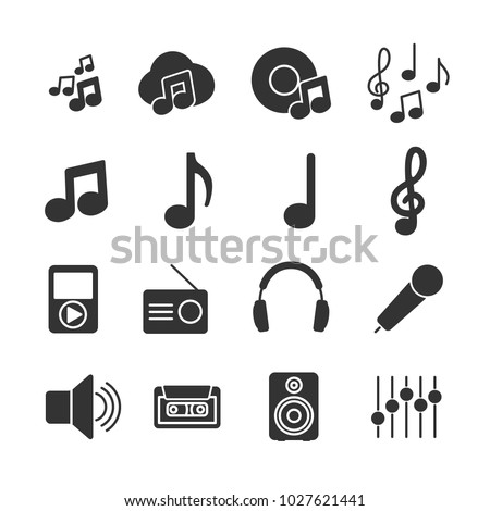 Vector image set of music icons.
