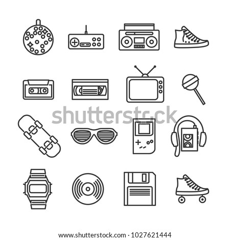 Vector image set of retro 80s line icons.