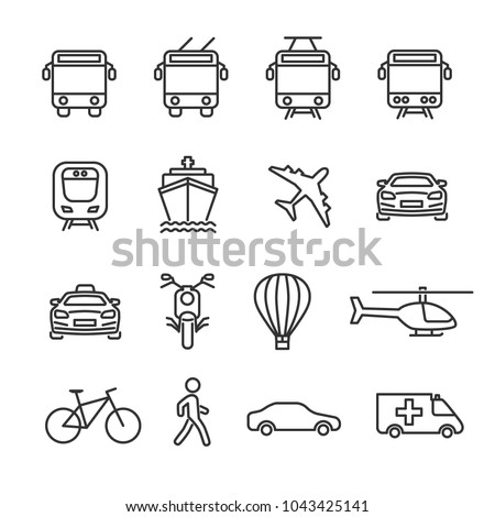 Vector image set of transport line icons.