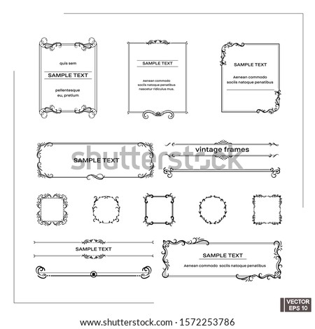 Vector image. Set of vintage frames. Scrolls and curls, elements for design.