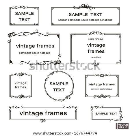 Vector image. Set of vintage frames with scrolls and curls.