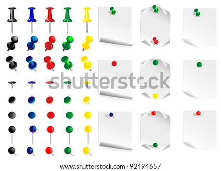 Vector image set  push pin and leaves for notes - stock vector