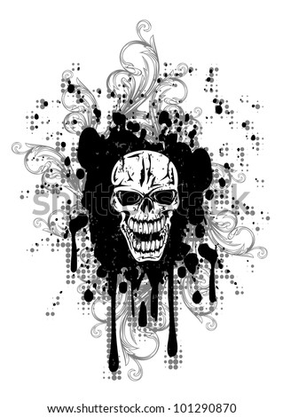 vector image skull and patterns