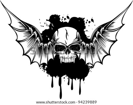 Vector image skull with wings and patterns