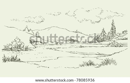 Vector image. Summer landscape with a river flowing among the hills