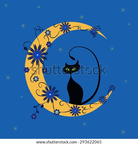 vector image the cat is