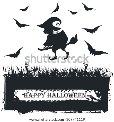 Vector image with Flying witch silhouette On Broom.