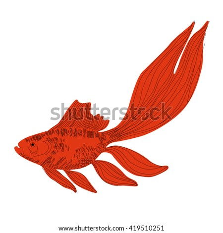 vector image with goldfish