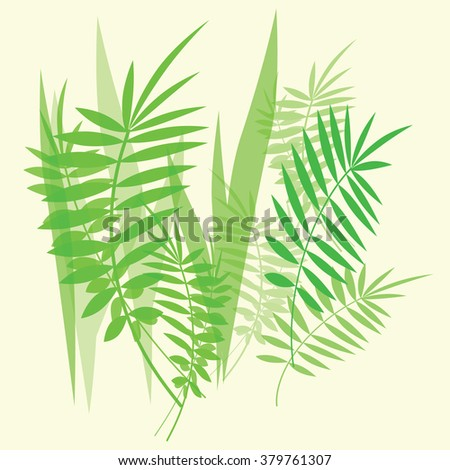 Vector image with green fern leaves and branches on white background