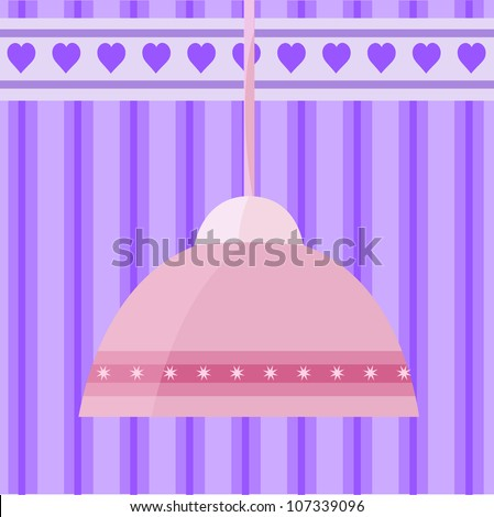 vector image with pink chandelier