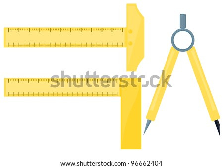 Vector images drawing rulers with compass on white background