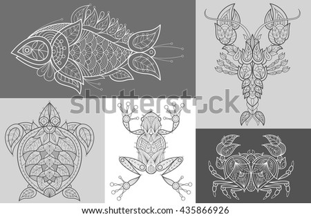 vector images fish  sea turtle