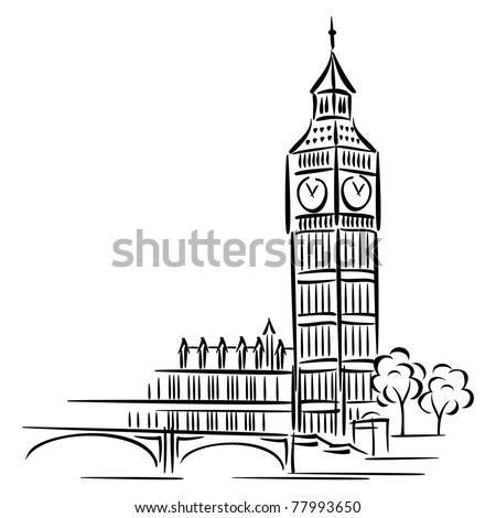 vector images of Big Ben in London