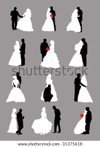 stock vector vector images of men and women in wedding dresses and suits