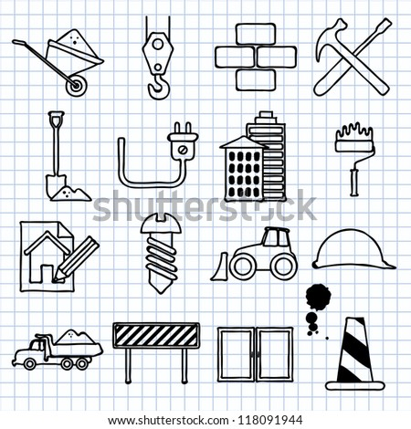 Vector images on the theme of building - stock vector