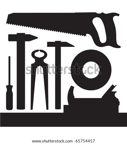 Vector images silhouettes of several kinds of tools - stock vector