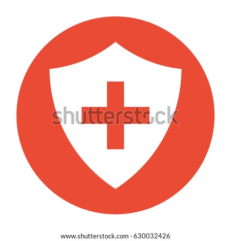 Vector Immune System (Cross In A Shield) Within A Circle Icon
