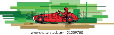 vector impression illustration of retro racing car