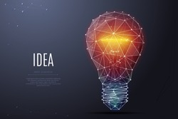 Vector Incandescent lamp with bright light. Low poly wireframe and points. Polygonal 3D white bright warm light on dark background. Idea with geometry triangle. Abstract lamp bulb mash line origami
