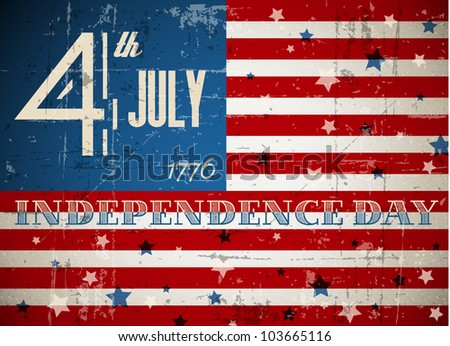 Vector independence day poster - retro vintage version