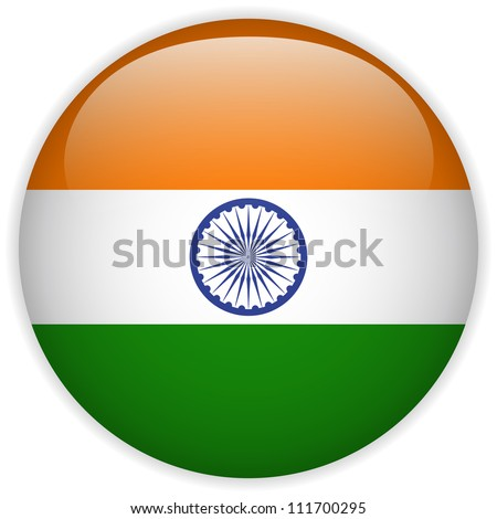 Vector - India Flag Glossy Button