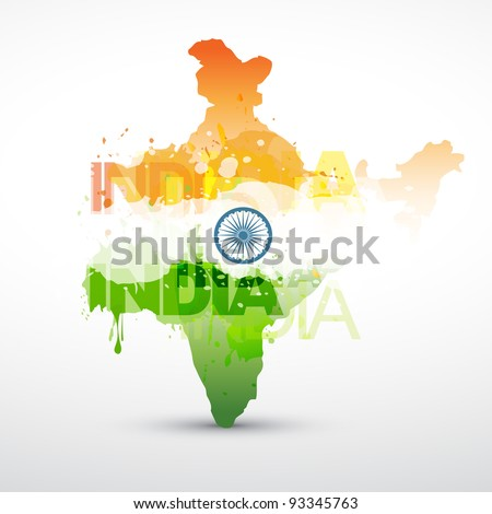 vector india map with indian flag