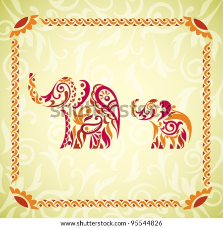Vector Indian Elephants