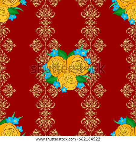 Vector Indian Floral Rose Flowers And Green Leaves Pattern Can Be