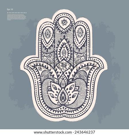 Vector Indian Hand Drawn Hamsa Simple Drawing