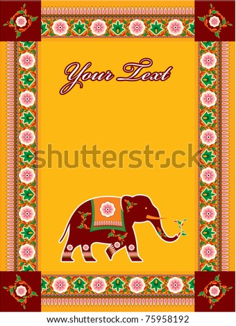 Vector Indian (Hindu) Style Template with Copy space (invitation, card, poster, flayer)