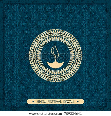 vector indian holiday postcard. diwali festival of lights. hindu design with mandala and fire symbol and flower pattern