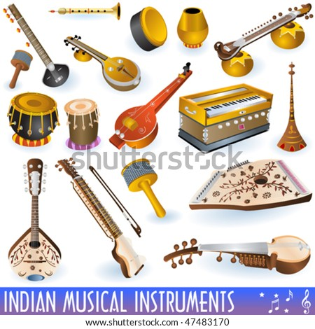 vector indian music instrument