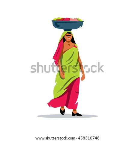 vector indian woman cartoon