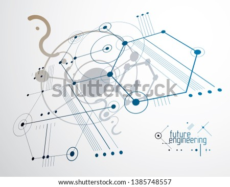 Vector industrial and engineering background, future technical plan. Abstract blueprint of mechanism, mechanical scheme.