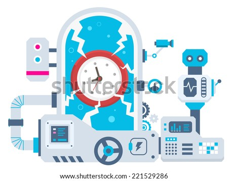 Stock Photo Vector industrial illustration background of the factory for clock. Color bright flat design for banner, web, site, advertising, print, poster.
