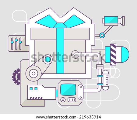 Vector industrial illustration of the mechanism of gift box with bow. Color line art and flat design for banner, print, poster, sticker, advertising