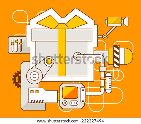 Vector industrial illustration of the mechanism of gift box with bow. Yellow color line art and flat design for banner, print, poster, sticker, advertising
