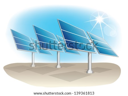 Vector industrial installation. Solar panel