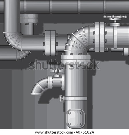 Vector Industrial Pipe Background with faucet