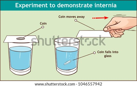 Vector - Inertia example our daily lives infographic diagram experiment to demonstrate inertia showing coin on cardboard on glass when card pulled the coin fall due to gravity for physics science educ Сток-фото ©