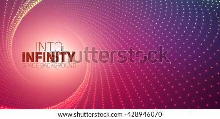 Vector infinite round twisted tunnel of shining flares on violet background. Glowing points form tunnel. Abstract cyber colorful background. Elegant modern geometric wallpaper. Shining points swirl.