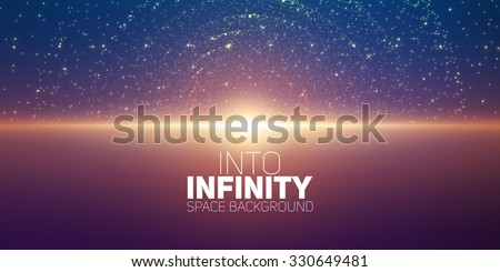Vector infinite space background. Matrix of glowing stars with illusion of depth and perspective. Abstract cyber fiery sunrise over sea. Abstract futuristic universe on dark violet background.