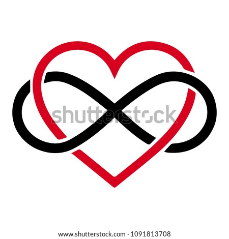 Vector infinity icon, eternal life idea. Illustration of an eternity symbol placed on red heart, love forever concept.