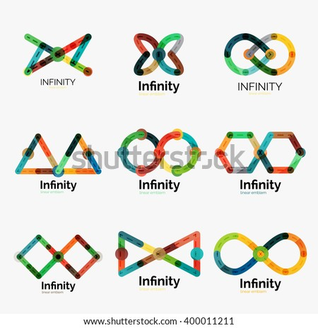 vector infinity logo set  flat