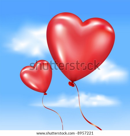 Vector. Inflated Heart-Shaped Balloons In Vector Sky - 8957221